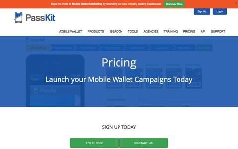 Screenshot of Pricing Page passkit.com - Pricing - PassKit - captured June 16, 2015