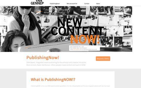 Screenshot of Home Page vangennep.nl - Van Gennep - PublishingNOW! - captured Oct. 7, 2014