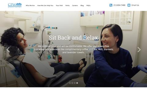 Screenshot of Home Page cpwdentistry.com - Central Park West Dentistry - captured Dec. 14, 2015