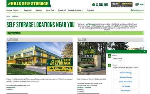Screenshot of Locations Page hillsselfstorage.com.au - Sydney Self Storage Locations - Castle Hill, Galston, Kings Park & Rouse Hill - captured Aug. 16, 2019