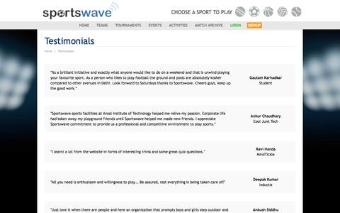 Screenshot of Testimonials Page sportswave.co.in - Quit playing games, start playing sports | Sportswave - captured Oct. 29, 2015