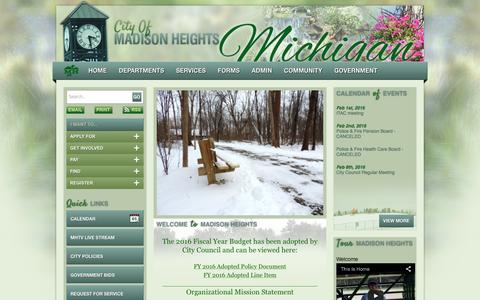Screenshot of Home Page madison-heights.org - The City of Madison Heights - captured Jan. 28, 2016