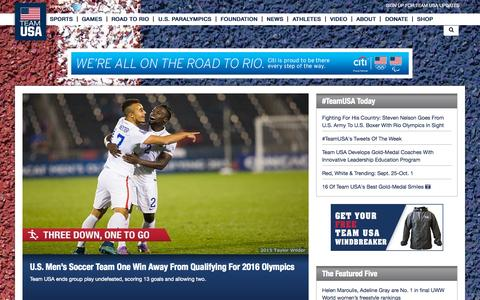 Screenshot of Home Page teamusa.org - TeamUSA | Home - captured Oct. 7, 2015