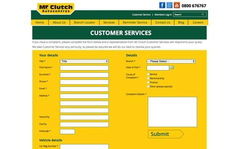 Screenshot of Support Page mrclutch.com - Customer Service | Mr Clutch Autocentres - captured Sept. 30, 2015