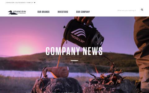 Screenshot of Press Page johnsonoutdoors.com - News | Johnson Outdoors - captured Sept. 20, 2018
