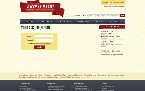 Screenshot of Login Page jayscompany.com - Your Account/Login - captured Sept. 20, 2018