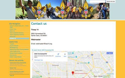 Screenshot of Contact Page google.com - Contact us - Troop 14 - Santa Clara - captured July 4, 2018