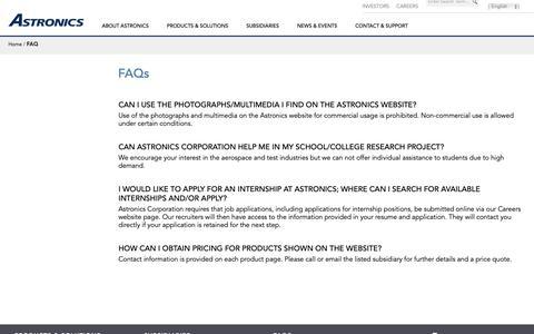 Screenshot of FAQ Page astronics.com - Astronics FAQ - captured Nov. 18, 2018