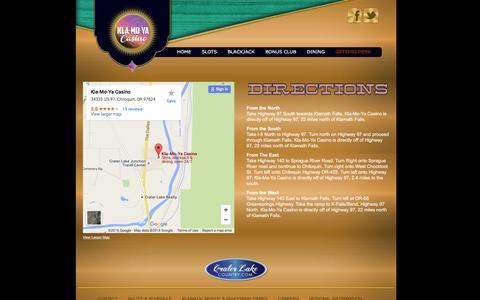 Screenshot of Maps & Directions Page klamoyacasino.com - Klamoya Casino - Contact Us - captured Jan. 9, 2016