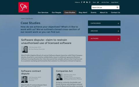 Screenshot of Case Studies Page salaw.com - Case Studies - Solicitors in London & St Albans (Hertfordshire) - SA Law - captured Sept. 19, 2014