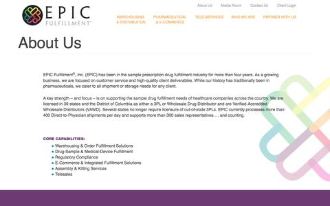 Screenshot of About Page epicfulfillment.com - About Us   Epic Fulfillment - captured Sept. 25, 2018