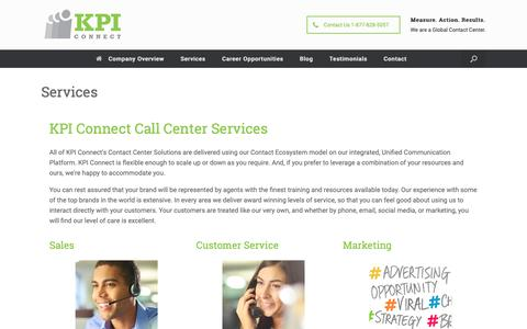 Screenshot of Services Page kpiconnect.com - Services - See Our Offerings in Multi-Channel Contact Center Solutions - captured Nov. 6, 2018
