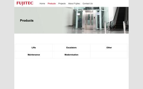 Screenshot of Products Page fujitec.uk.com - Products - Fujitec UK Ltd - captured Oct. 11, 2018