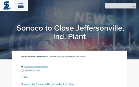 Screenshot of Press Page sonoco.com - Sonoco to Close Jeffersonville, Ind. Plant | Sonoco - captured Nov. 5, 2019