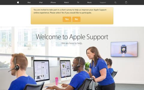 Screenshot of Support Page apple.com - Official Apple Support - captured Jan. 17, 2016