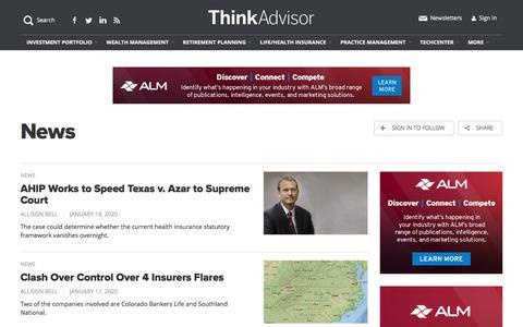 Screenshot of Press Page thinkadvisor.com - Investment News & Analysis for Financial Advisors   ThinkAdvisor - captured Jan. 19, 2020