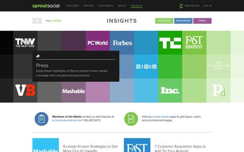 Screenshot of Press Page sproutsocial.com - Press - Company News & Media Coverage | Sprout Social - captured Sept. 12, 2014