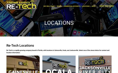 Screenshot of Locations Page re-tech.com - Re-Tech Locations - captured Dec. 6, 2016