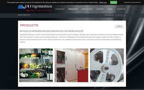 Screenshot of Products Page frigonautica.com - Refrigerating systems for yachts Frigonautica - Frigonautica - captured March 6, 2016