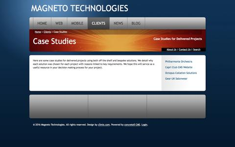 Screenshot of Case Studies Page magnetoweb.com - Case studies for Content Managed Websites - captured May 29, 2016