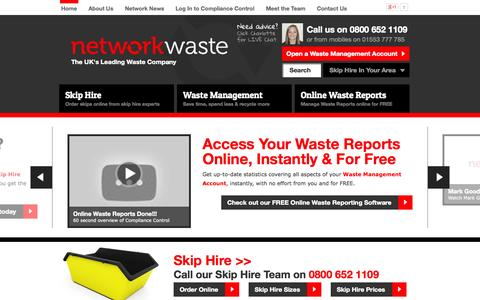 Screenshot of Home Page networkwaste.co.uk - Waste Management & Skip Hire Specialists | Network Waste - captured Oct. 9, 2014