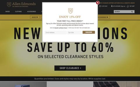 Screenshot of Home Page allenedmonds.com - Mens Shoes - Mens Dress Shoes - Mens Casual Shoes - captured Jan. 18, 2018