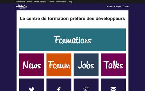 Screenshot of Home Page humancoders.com - Human Coders, formations pour développeurs - captured Jan. 21, 2015