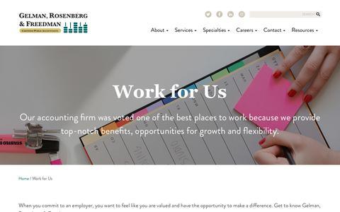 Screenshot of Jobs Page grfcpa.com - Work for Us   Gelman, Rosenberg & Freedman CPAs - captured Sept. 27, 2018