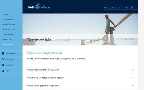Screenshot of Developers Page amp.com.au - Client Testimonials - Templetons Financial - captured Nov. 14, 2016