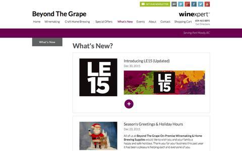 Screenshot of Press Page beyondthegrape.com - What's New - Beyond The Grape - captured Feb. 7, 2016
