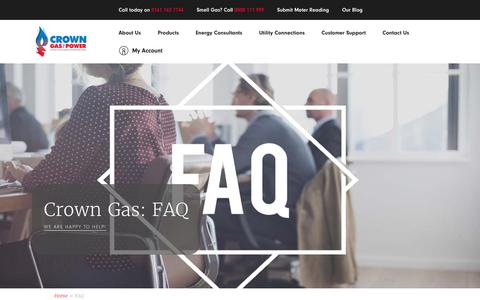 Screenshot of FAQ Page crowngas.co.uk - FAQ | Crown Gas & Power - captured Nov. 11, 2018