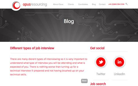 Screenshot of Blog opusresourcing.com - Blog  | Opus Resourcing - captured Oct. 9, 2014