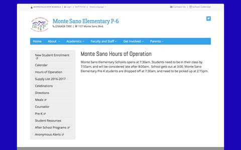 Screenshot of Hours Page huntsvillecityschools.org - Monte Sano Hours of Operation | Monte Sano Elementary | Huntsville City Schools - captured Jan. 3, 2017