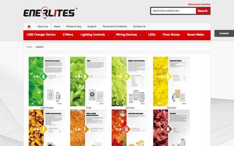 Screenshot of Support Page enerlites.com - Support - captured Oct. 2, 2014