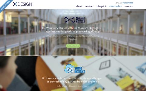 Screenshot of Case Studies Page xdesign.com - Recent mobile application & digital solution projects - captured Oct. 9, 2014