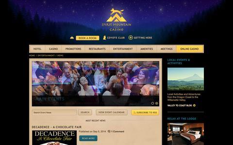 Screenshot of Press Page spiritmountain.com - Entertainment, Events, & News | Spirit Mountain Casino in Oregon - captured Sept. 23, 2014