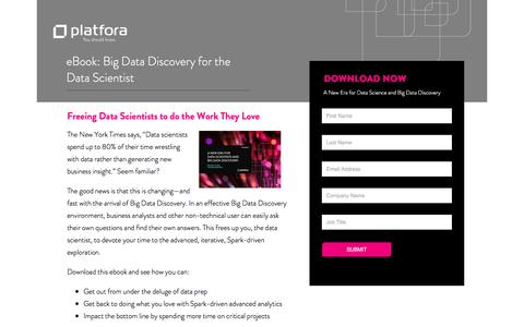 Screenshot of Landing Page platfora.com - eBook: Big Data Discovery for the Data Scientist - captured Aug. 19, 2016