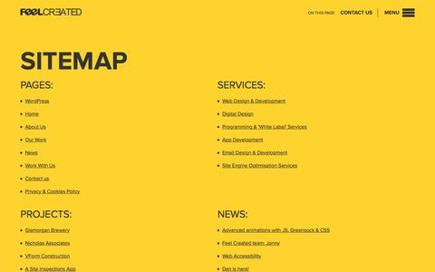 Screenshot of Site Map Page feelcreated.com - Sitemap | Wakefield, Yorkshire, Feel Created Ltd - captured Oct. 13, 2017