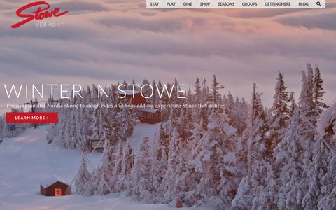 Screenshot of Home Page gostowe.com - Visit Stowe, Vermont - Official Tourism Site | Go Stowe - captured Oct. 21, 2018
