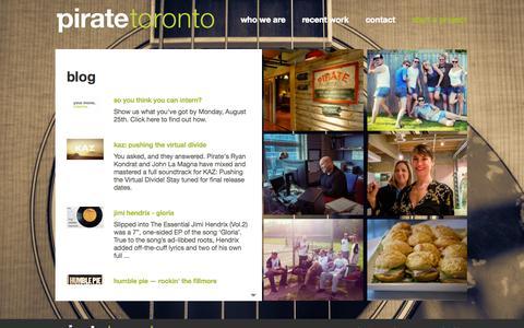Screenshot of Blog piratetoronto.com - Blog - captured Oct. 2, 2014