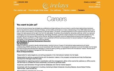 Screenshot of Jobs Page irelays.com - Careers | irelays - captured Aug. 6, 2016