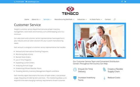 Screenshot of Support Page tengco.com - Inventory Management & Customer Service for Manufacturing   Tengco - captured Nov. 30, 2016