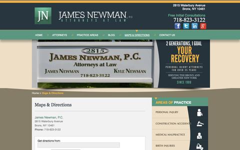 Screenshot of Maps & Directions Page jamesnewmanlaw.com - Directions | James Newman, P.C. | Personal Injury, Medical Malpractice & Construction Accident Law Firm - captured Oct. 6, 2014