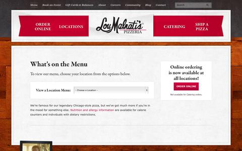 Screenshot of Menu Page loumalnatis.com - Our Menu | Lou Malnati's Pizzeria - captured Nov. 18, 2015