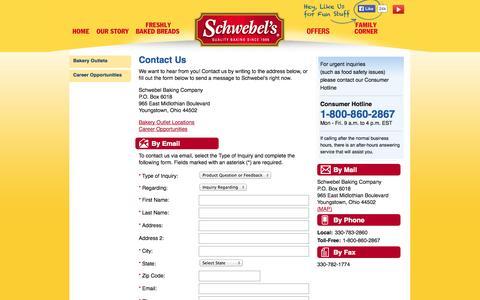 Screenshot of Contact Page schwebels.com - Contact Us – Schwebel's Freshly Baked Breads - captured Oct. 3, 2014
