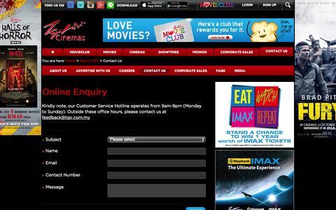 Screenshot of Contact Page tgv.com.my - TGV Cinemas - Contact Us - captured Oct. 29, 2014