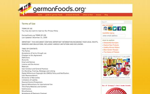 Screenshot of Terms Page germanfoods.org - Terms of Use - Germanfoods.orgGermanfoods.org - captured Oct. 1, 2014