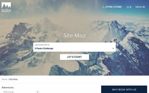 Screenshot of Site Map Page maximumadventure.com - Maximum Adventure :: Site Map - captured Sept. 20, 2018