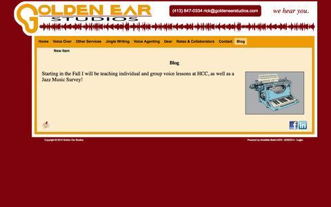 Screenshot of Blog goldenearstudios.com - Voiceover, Jingles, Agenting, Vinyl & Cassette to CD, Recording Studio, Western MA, Springfield, Westfield, - Blog - captured Sept. 30, 2014