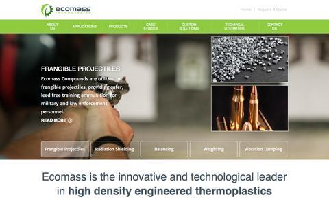 Screenshot of Home Page ecomass.com - High Density Engineered Thermoplastics - Ecomass Technologies - captured Oct. 1, 2014
